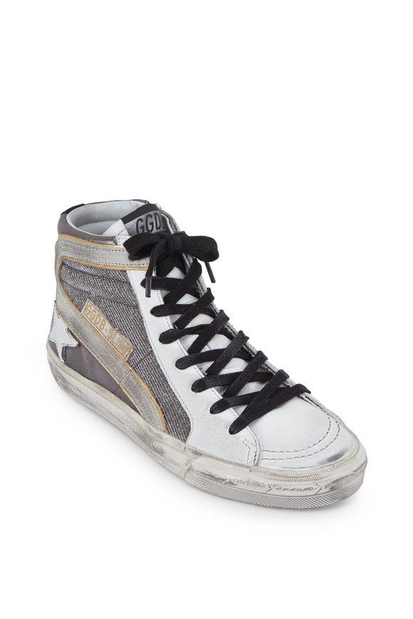 Women's Slide Gunmetal Shimmer High Top Sneaker