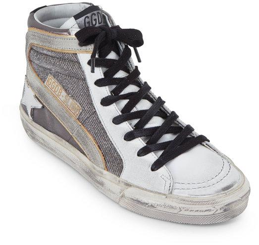 Golden Goose Women's Slide Gunmetal Shimmer High Top Sneaker