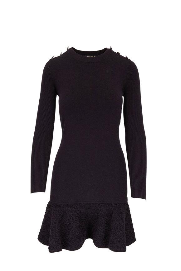 Paule Ka Black Jacquard Hem Long Sleeve Knit Dress