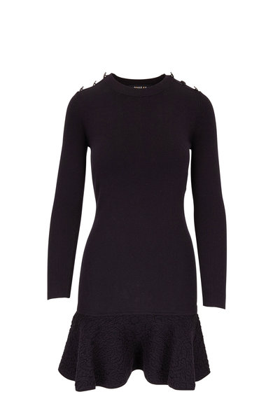 Paule Ka - Black Jacquard Hem Long Sleeve Knit Dress
