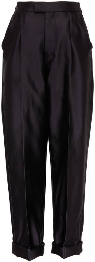 Tom Ford Black Silk Pleated Cuffed Hem Pant