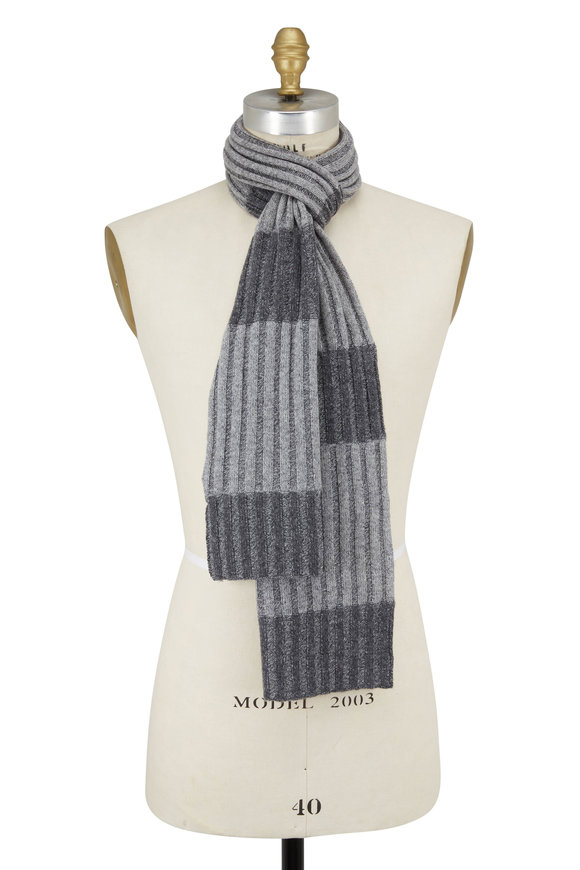 Kinross Gray Color Block Cashmere Scarf