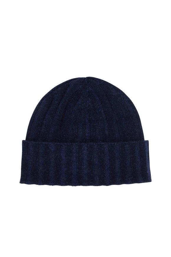Kinross Dark Navy Cashmere Plaited Hat
