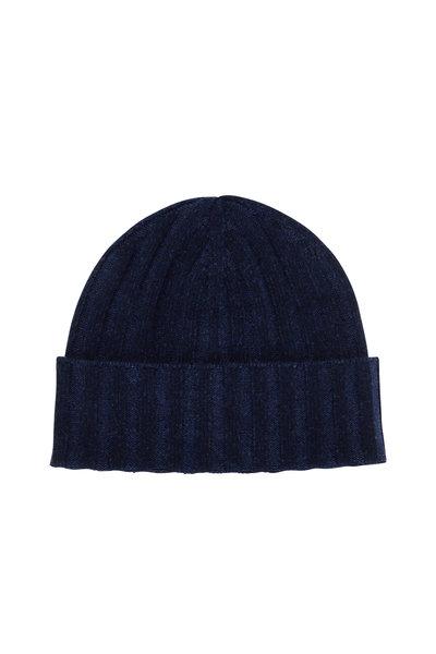 Kinross - Dark Navy Cashmere Plaited Hat