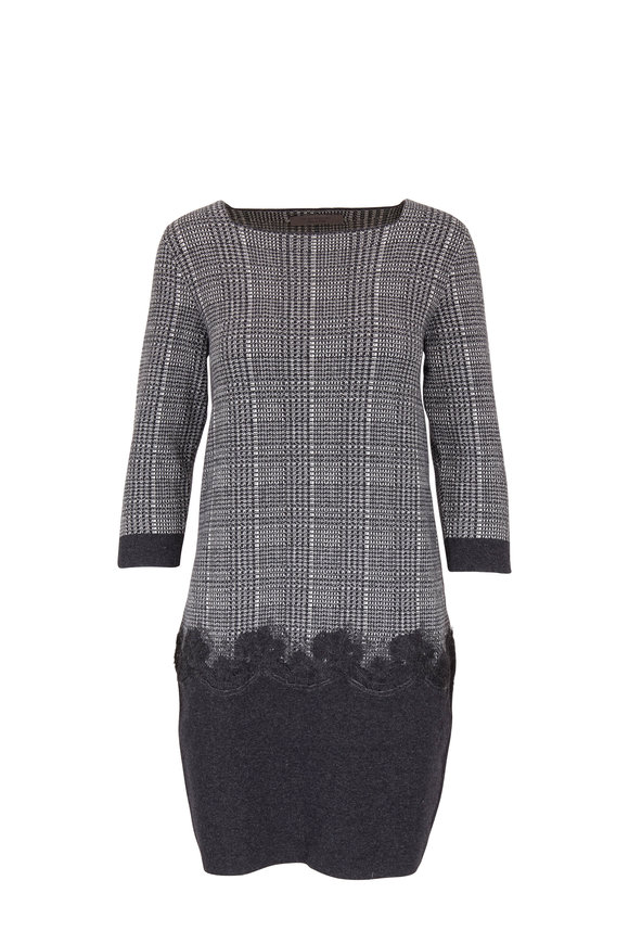 D.Exterior Charcoal Houndstooth Three-Quarter Sleeve Dress