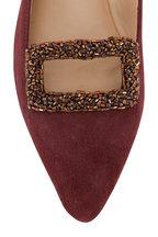 Maliparmi - Bordeaux Suede Embellished Buckle Ballerina Flat