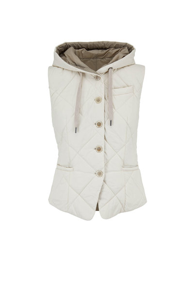 Brunello Cucinelli - Vanilla Quilted Nylon Hooded Reversible Vest