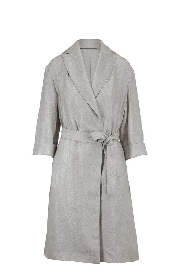Brunello Cucinelli Silver Linen Lurex Long Belted Coat