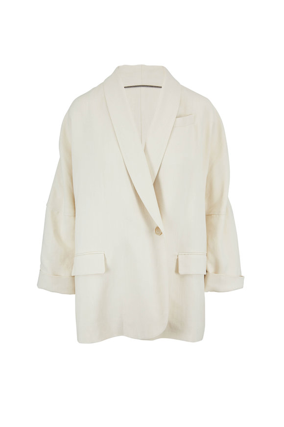 Brunello Cucinelli Natural Linen Shawl Lapel Drop Sleeve Blazer