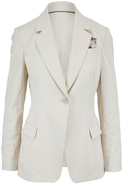 Brunello Cucinelli Natural Cotton Single Button Pocket Square Blazer