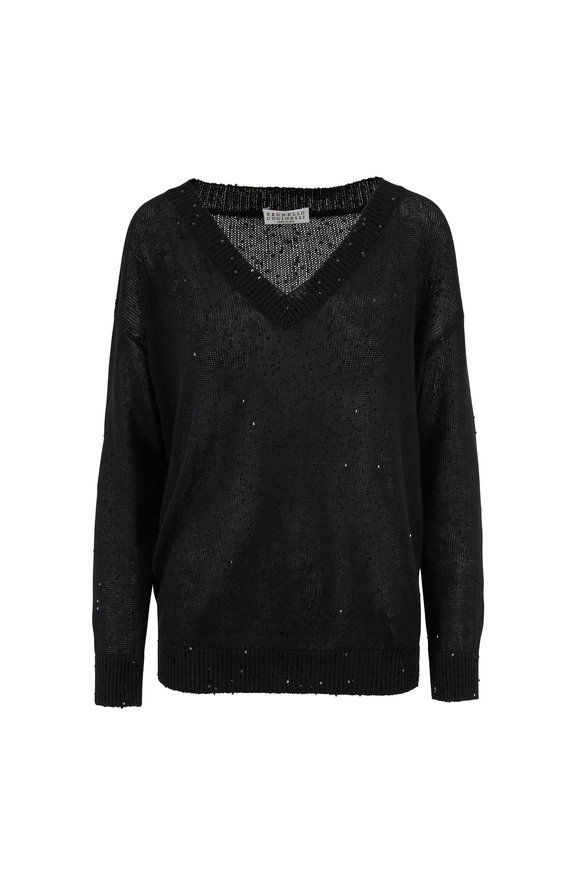 Brunello Cucinelli Black Cotton Paillette Deep V-Neck Sweater