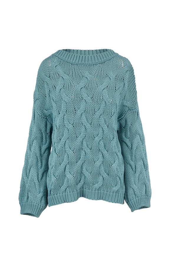 Brunello Cucinelli Aqua Cotton Cable Knit Crewneck Sweater