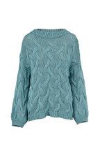 Brunello Cucinelli - Aqua Cotton Cable Knit Crewneck Sweater
