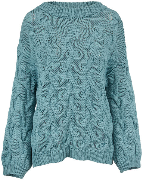 Brunello Cucinelli Exclusively Ours! Aqua Cotton Cable Knit Sweater