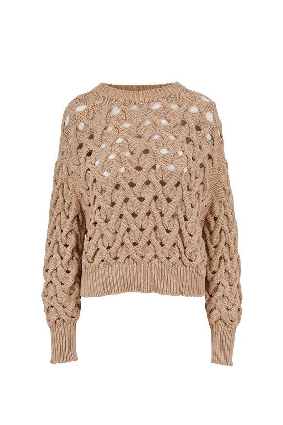 Brunello Cucinelli Almond Cotton & Nylon Basketweave Sweater