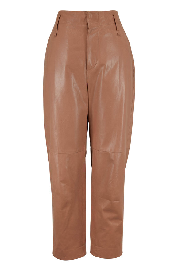 Brunello Cucinelli Light Brown Leather High-Rise Pant