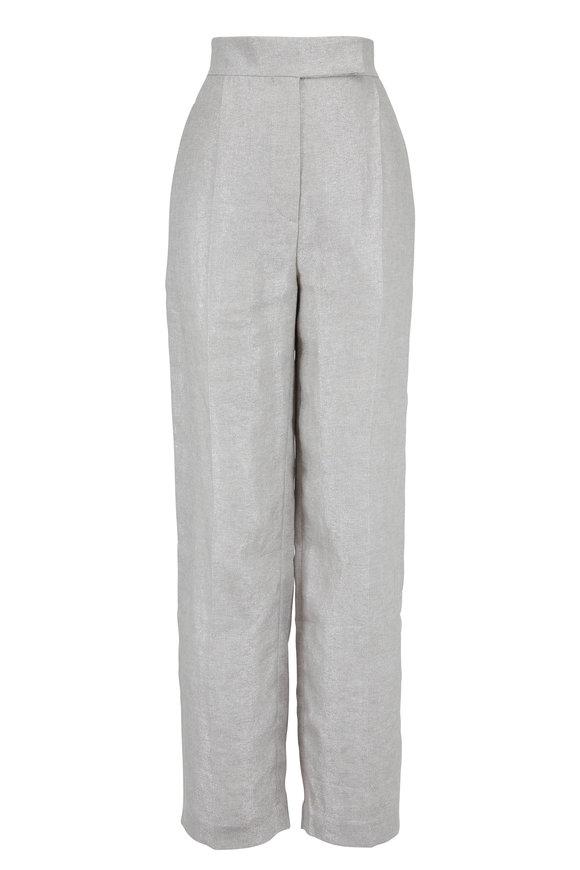 Brunello Cucinelli Silver Linen Lurex Front Pleat Pant