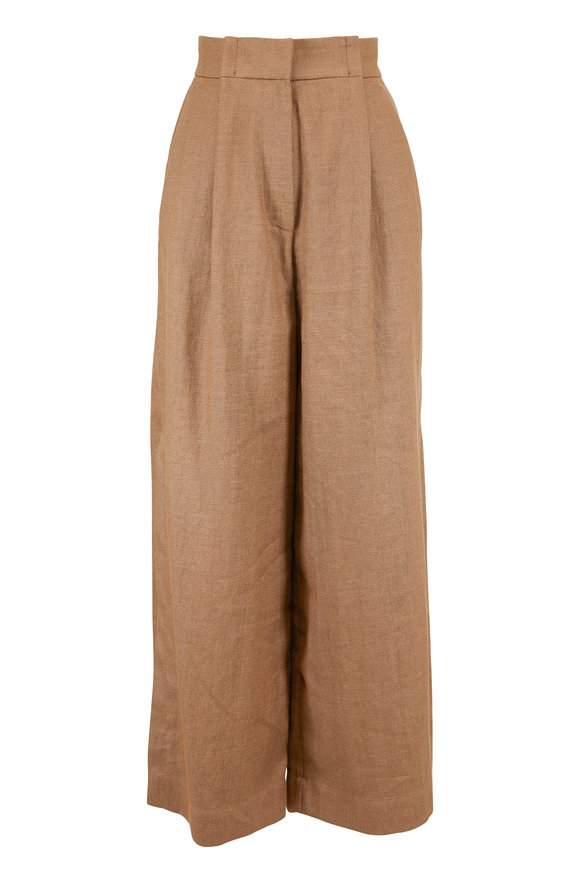 Brunello Cucinelli Brown Raffia Linen Wide Leg Split Cuff Pant