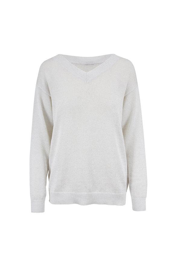 Brunello Cucinelli Beige Cotton Lurex Deep V-Neck Sweater