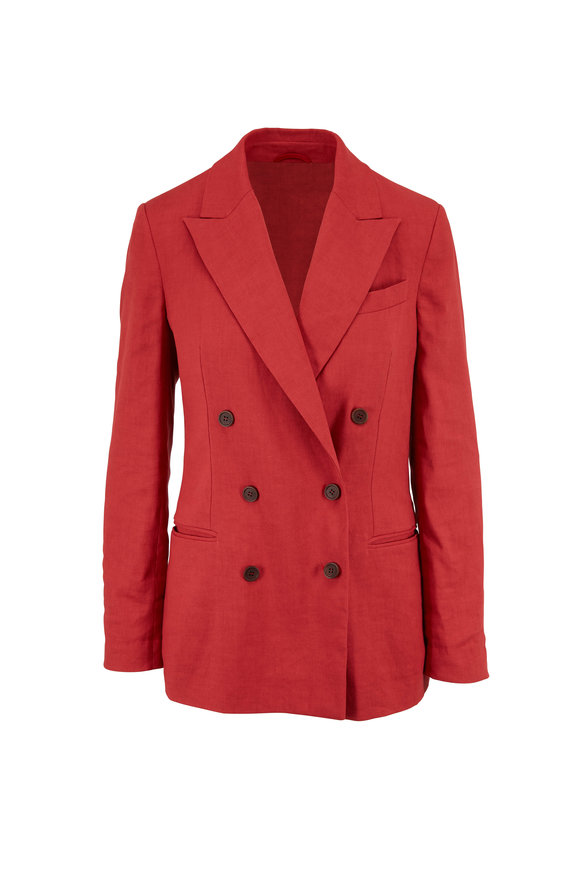 Brunello Cucinelli Red Linen & Cotton Double-Breasted Jacket