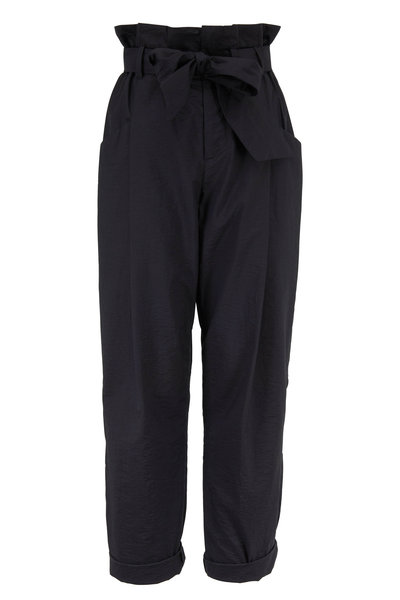 Brunello Cucinelli - Black Stretch Cotton High-Rise Belted Pant