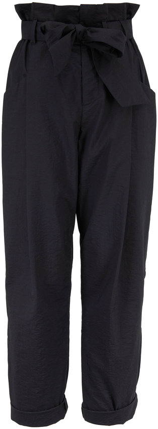 Brunello Cucinelli Black Stretch Cotton High-Rise Belted Pant