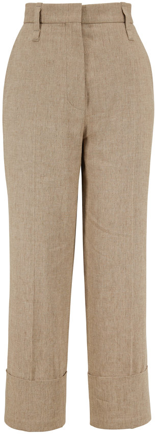 Brunello Cucinelli Brown Stretch Linen Cuffed Pant