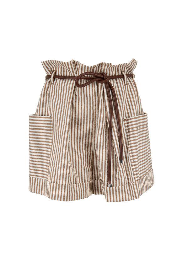 Brunello Cucinelli Beige & White Paper Bag Seersucker Shorts