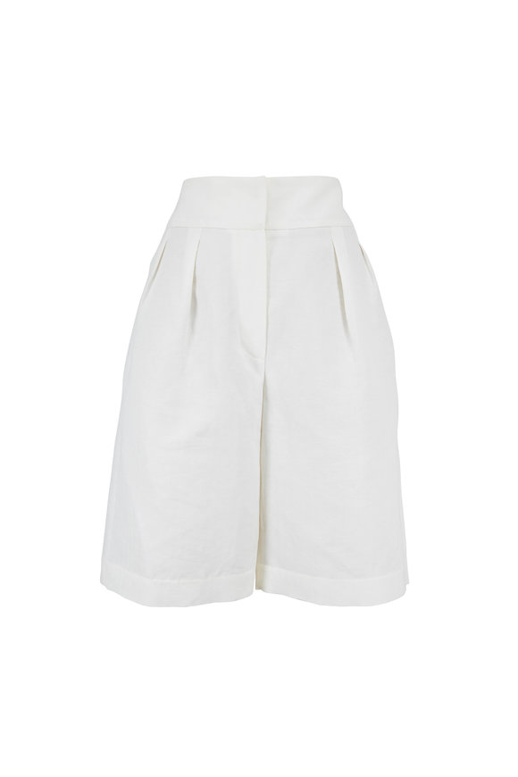 Brunello Cucinelli Natural Chevron Double Pleated Bermuda Shorts