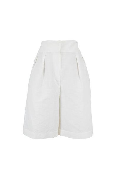 Brunello Cucinelli - Natural Chevron Double Pleated Bermuda Shorts