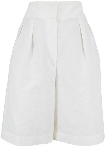 Brunello Cucinelli Natural Chevron Double Pleated Bermuda Shorts