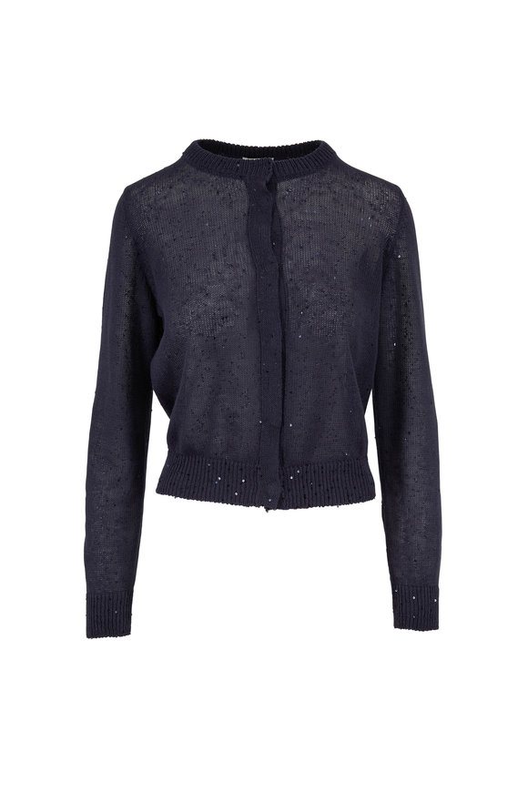 Brunello Cucinelli Dark Blue Linen & Silk Paillette Cropped Cardigan