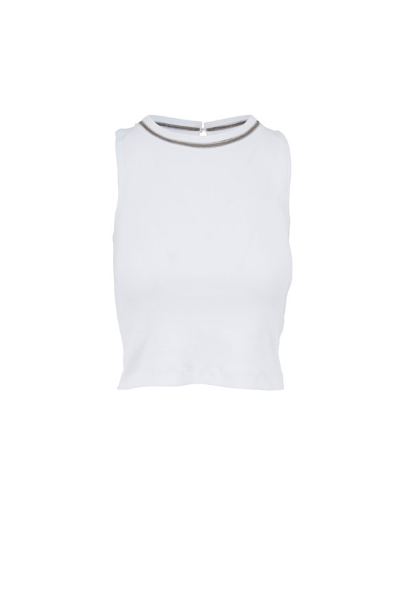Brunello Cucinelli White Cotton Monili Trim Cropped Tank Top