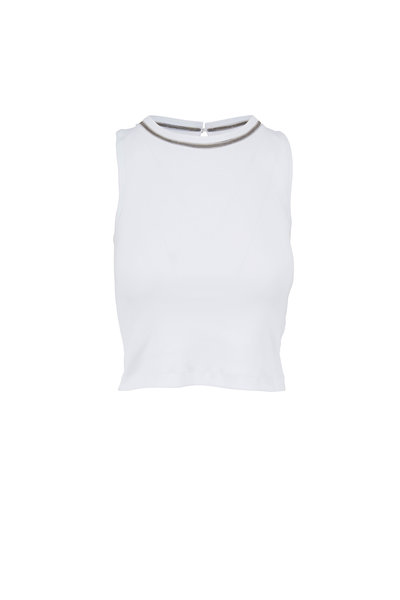 Brunello Cucinelli - White Cotton Monili Trim Cropped Tank Top