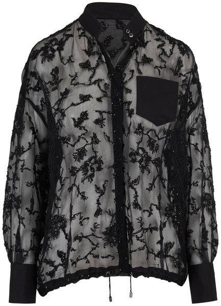Brunello Cucinelli Sheer Black Paillette Embellished Blouse
