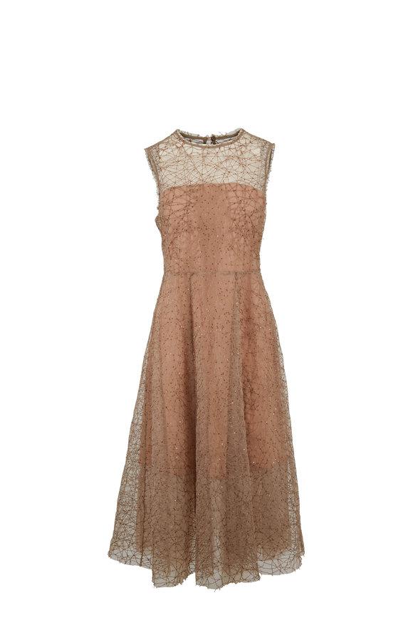 Brunello Cucinelli Nude Tulle Paillette Sleeveless Belted Dress