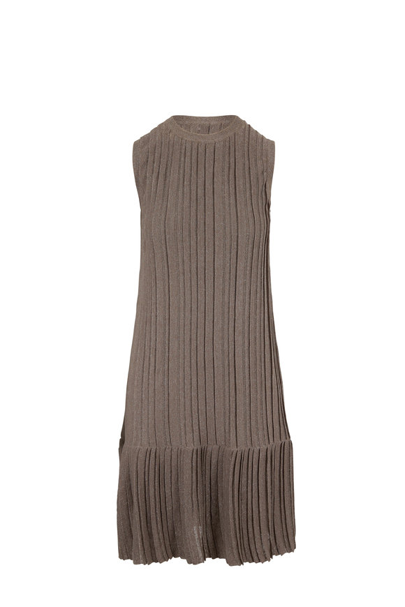 Brunello Cucinelli Mudd Lurex Linen Pleated Sleeveless Dress