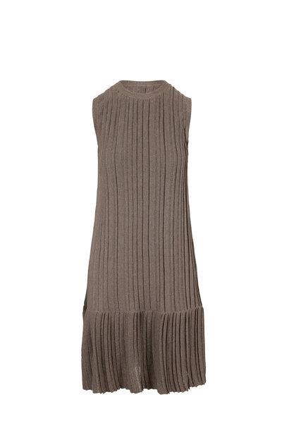 Brunello Cucinelli - Mudd Lurex Linen Pleated Sleeveless Dress