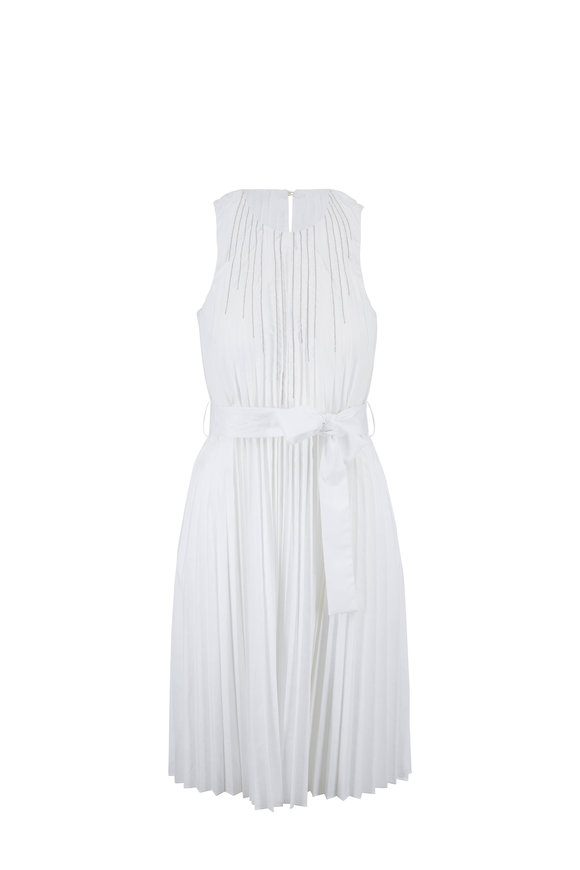Brunello Cucinelli White Poplin Plisse Monili Lines Belted Dress