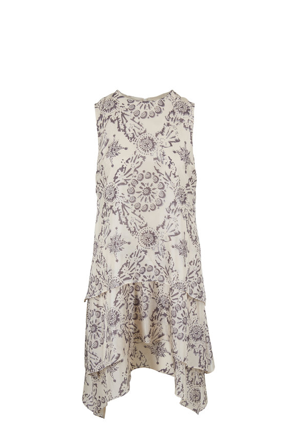 Brunello Cucinelli Beige & Gray Silk Floral Sleeveless Dress