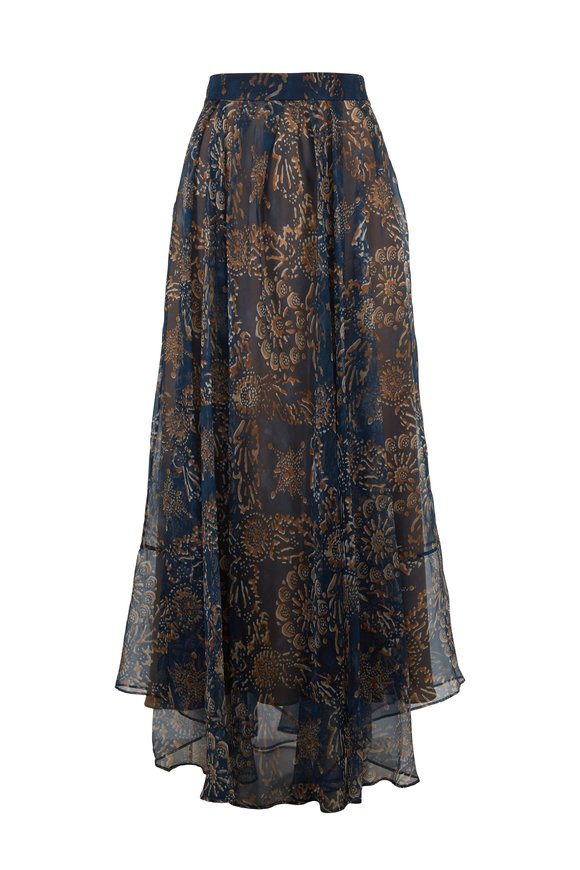 Brunello Cucinelli Blue & Tan Silk Botanical Print Midi Skirt