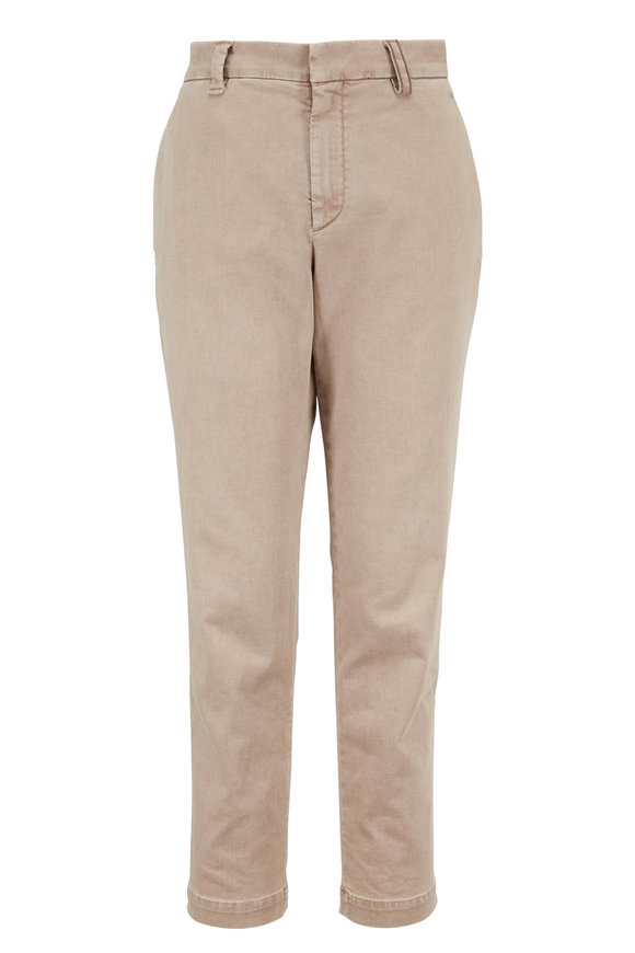 Brunello Cucinelli Oat Stretch Cotton Monili Belt Loop Skinny Pant