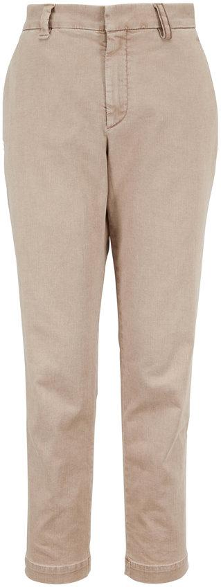 Brunello Cucinelli Oat Stretch Cotton Monili Belt Loop Skinny Pant