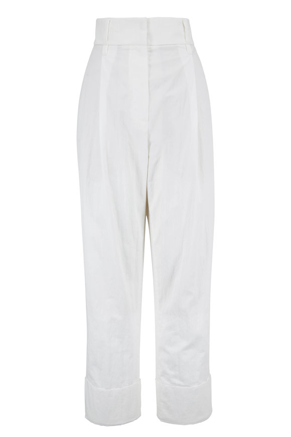 Brunello Cucinelli White Cotton & Nylon Pleated Cuff-Hem Pant