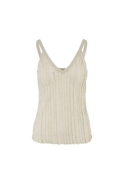 Brunello Cucinelli - Beige Linen Lurex Ribbon Pleated V-Neck Tank