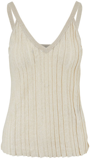 Brunello Cucinelli Beige Linen Lurex Ribbon Pleated V-Neck Tank