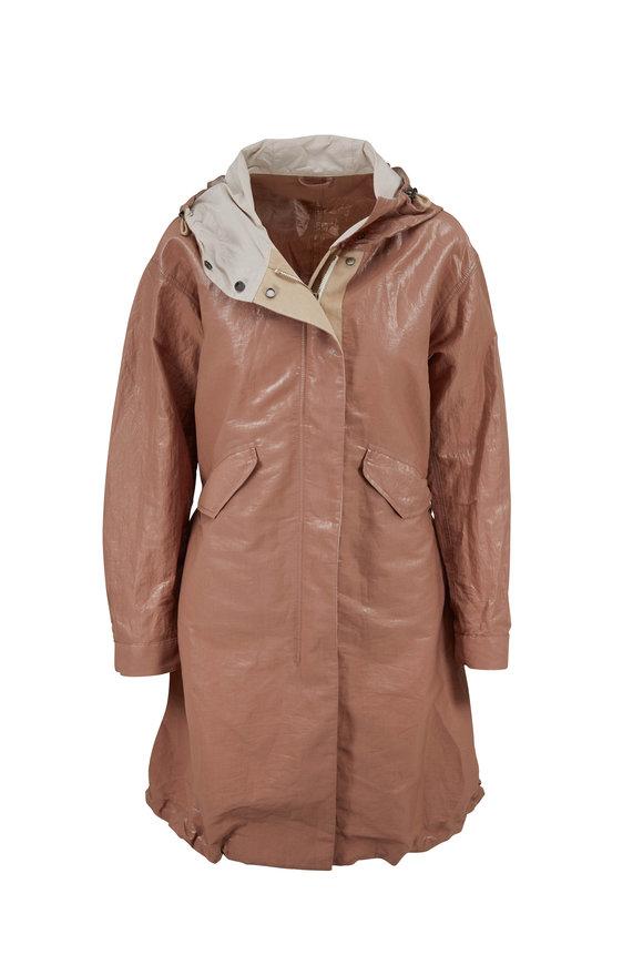 Brunello Cucinelli Dark Beige Irridescent Cotton Long Hooded Jacket