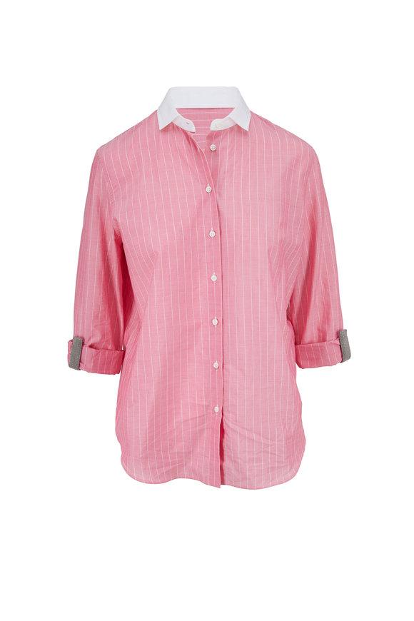 Brunello Cucinelli Pink Cotton Pinstripe Button Down Shirt