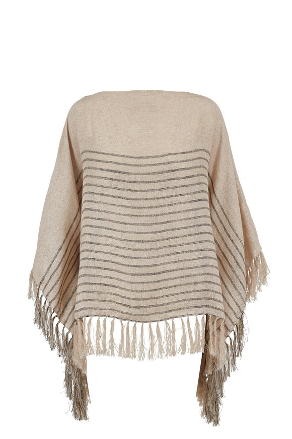 Brunello Cucinelli Beige & Black Striped Lurex Poncho