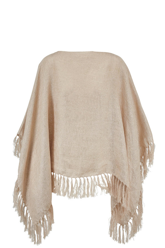 Brunello Cucinelli Exclusively Ours! Beige Lurex Fringed Trim Poncho